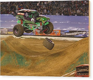 Wood Print featuring the photograph Grave Digger Loses A Wheel by Nathan Rupert