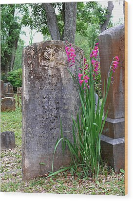 Wood Print featuring the photograph Grave Stone With Pink Flowers by Jeanne  Woods