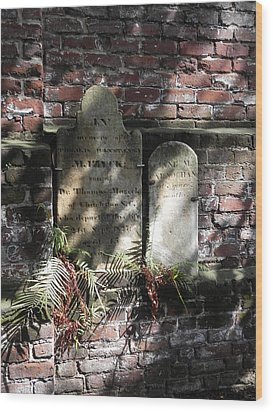 Grave Stones With Fern Wood Print by Patricia Greer