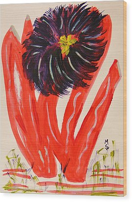 Gray And Vermillion Wood Print by Mary Carol Williams