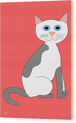 Gray And White Smiling Cat Wood Print