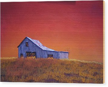 Wood Print featuring the painting Gray Barn by William Renzulli