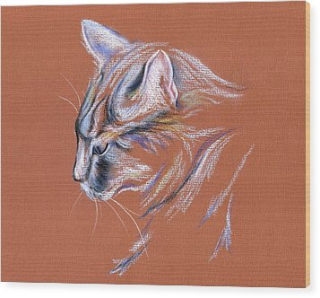 Wood Print featuring the pastel Gray Cat In Profile - Pastel by MM Anderson