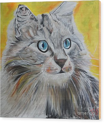 Gray Cat Wood Print by PainterArtist FIN
