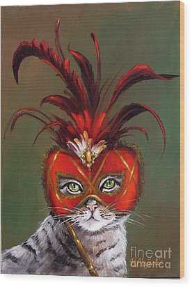 Gray Cat With Venetian Mask Fairy Tale Wood Print