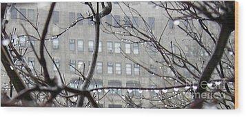 Gray City Wood Print by Sarah Loft