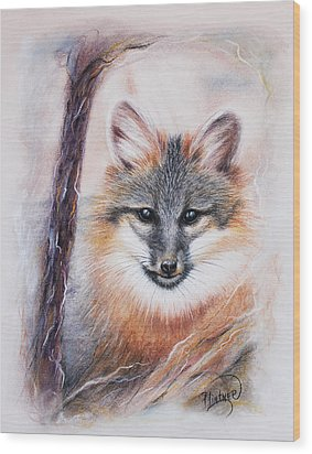 Wood Print featuring the drawing Gray Fox by Patricia Lintner