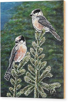 Wood Print featuring the painting Gray Jays by VLee Watson