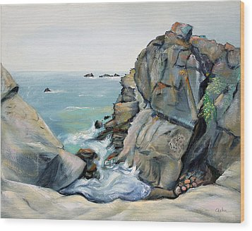 Wood Print featuring the painting Gray Rocks And Sky At Gerstle Cove by Asha Carolyn Young