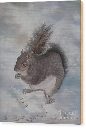 Gray Squirrel Wood Print by Jackie Hill