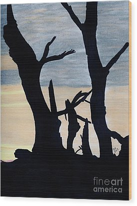 Wood Print featuring the drawing Gray Sunset by D Hackett