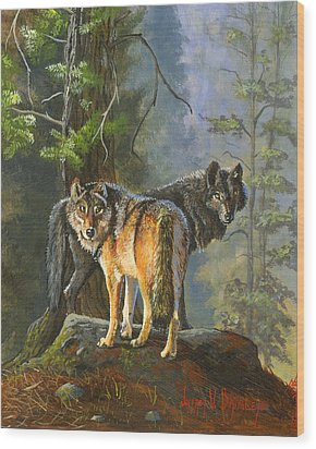Gray Wolves Wood Print by Jeff Brimley