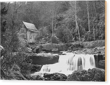 Grayscale Mill And Waterfall Wood Print