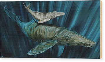 Graywhale Momma And Calf Wood Print by Steve Ozment