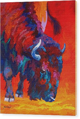 Grazing Bison Wood Print by Marion Rose
