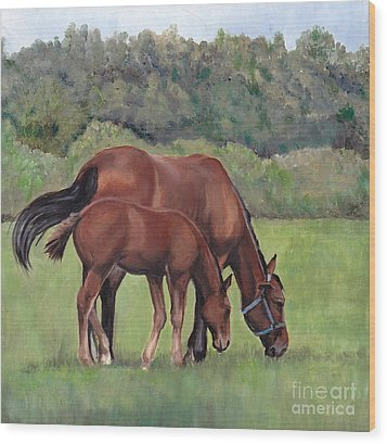 Grazing Wood Print by Charlotte Yealey