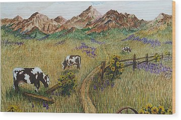 Grazing Cows Wood Print by Katherine Young-Beck