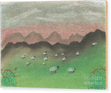 Grazing In The Hills Wood Print by Tracey Williams