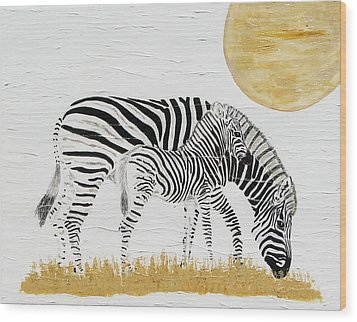 Wood Print featuring the painting Grazing Together by Stephanie Grant