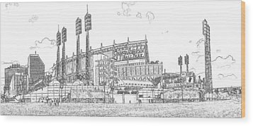 Great American Ball Park Line Wood Print