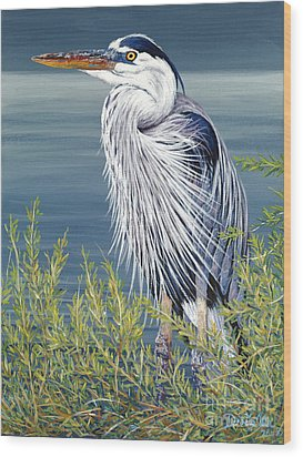 Great Blue Wood Print by Danielle  Perry