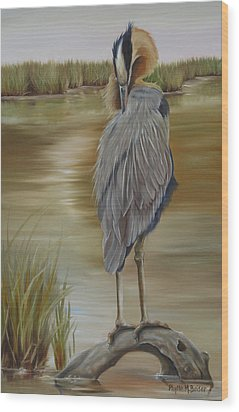 Great Blue Heron At Half Moon Island Wood Print by Phyllis Beiser