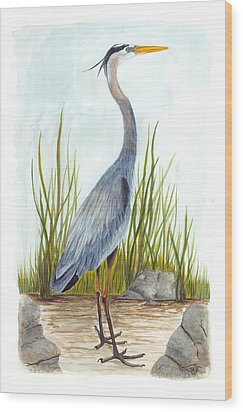 Great Blue Heron Wood Print by Cindy Hitchcock