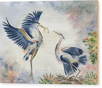 Great Blue Heron Couple Wood Print