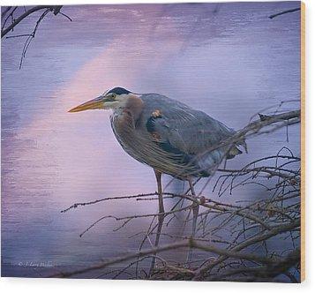 Great Blue Heron Fishing Wood Print by J Larry Walker