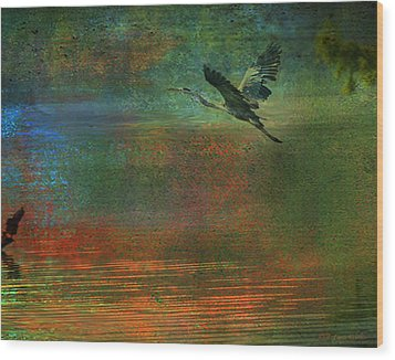 Wood Print featuring the digital art Great Blue Heron In Mystic Flight by J Larry Walker