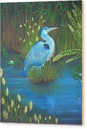 Great Blue Heron Wood Print by Kathern Welsh