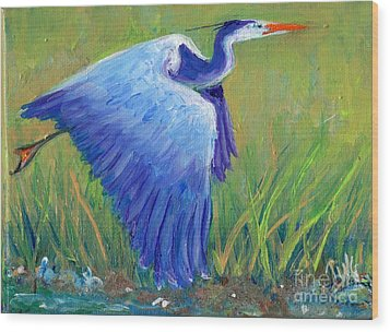 Wood Print featuring the painting Great Blue Heron Mini Painting by Doris Blessington