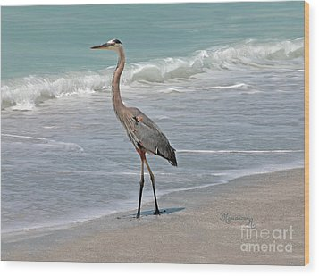 Wood Print featuring the photograph Great Blue Heron On Beach by Mariarosa Rockefeller
