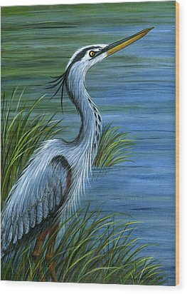 Great Blue Heron Wood Print by Sandra Estes