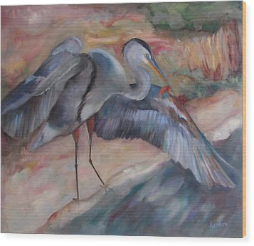 Great Blue Heron Wood Print by Susan Hanlon