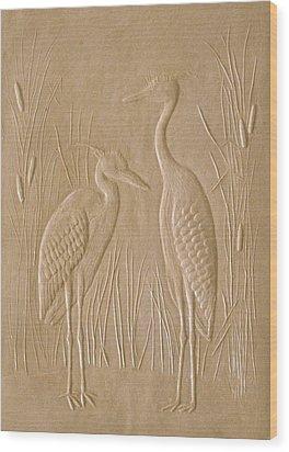 Great Blue Herons Wood Print by Deborah Dendler