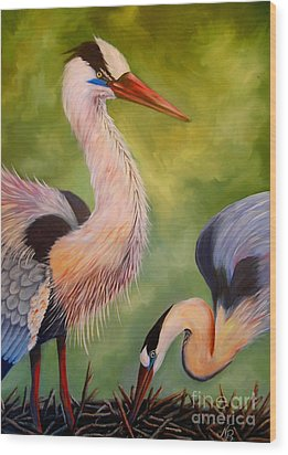 Great Blue Herons Wood Print by Nancy Bradley