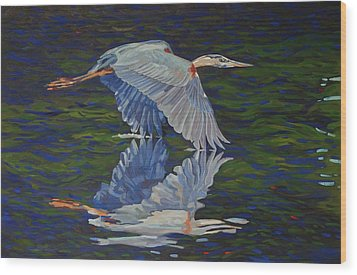 Great Blue Reflections Wood Print by Phil Chadwick