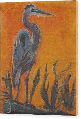 Great Blue Wood Print by Stephanie Allison