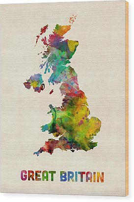 Great Britain Watercolor Map Wood Print by Michael Tompsett