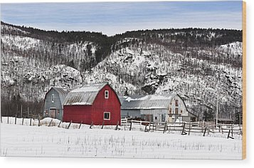 Great Canadian Red Barn In Winter Wood Print by Peter v Quenter