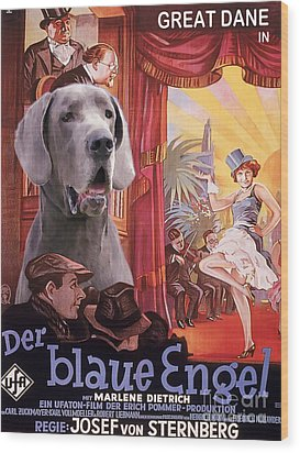 Great Dane Art Canvas Print - Der Blaue Engel Movie Poster Wood Print