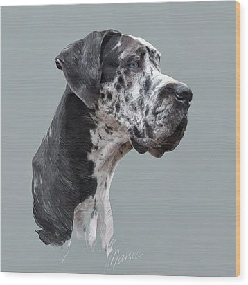 Great Dane Wood Print by Marina Likholat
