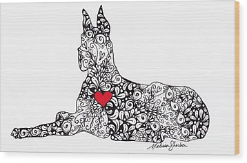 Wood Print featuring the drawing Great Dane by Melissa Sherbon