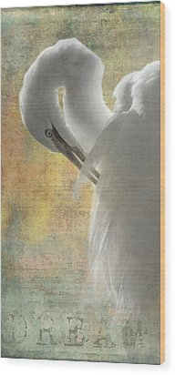 Great Egret Dream Wood Print by Angie Vogel