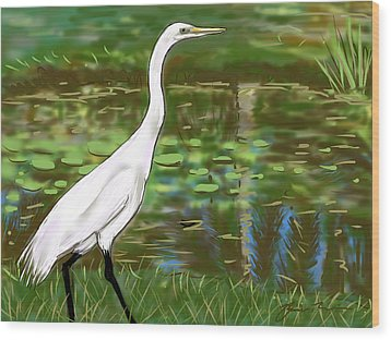 Wood Print featuring the painting Great Egret by Jean Pacheco Ravinski