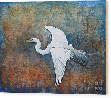 Great Egret  Wood Print by Zaira Dzhaubaeva