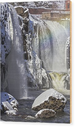 Great Falls And A Rainbow Wood Print