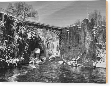 Great Falls In The Winter Wood Print