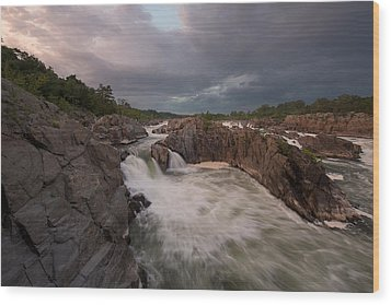 Wood Print featuring the photograph Great Falls Rugged Beauty by Bernard Chen